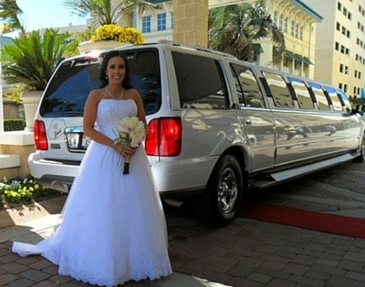 Bride in Front of Limo